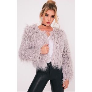 Grey faux fur shaggy cropped jacket